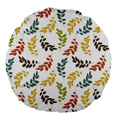 Colorful Leaves Seamless Wallpaper Pattern Background Large 18  Premium Flano Round Cushions