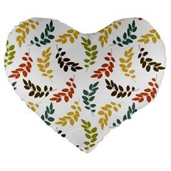 Colorful Leaves Seamless Wallpaper Pattern Background Large 19  Premium Flano Heart Shape Cushions