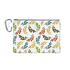 Colorful Leaves Seamless Wallpaper Pattern Background Canvas Cosmetic Bag (M)