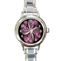 Pink And Cream Fractal Image Of Flower With Kisses Round Italian Charm Watch