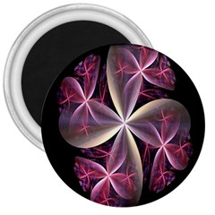 Pink And Cream Fractal Image Of Flower With Kisses 3  Magnets