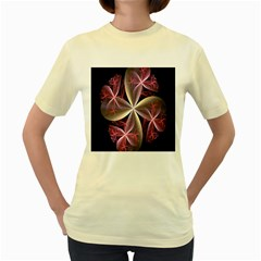 Pink And Cream Fractal Image Of Flower With Kisses Women s Yellow T-Shirt