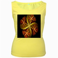 Pink And Cream Fractal Image Of Flower With Kisses Women s Yellow Tank Top