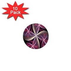 Pink And Cream Fractal Image Of Flower With Kisses 1  Mini Magnet (10 pack)