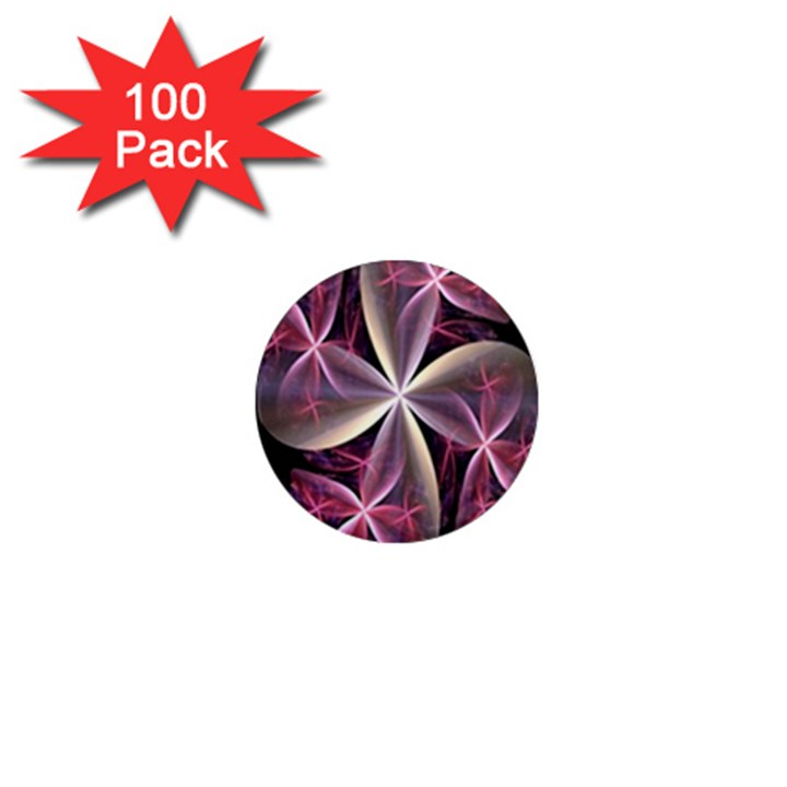 Pink And Cream Fractal Image Of Flower With Kisses 1  Mini Magnets (100 pack)