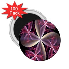 Pink And Cream Fractal Image Of Flower With Kisses 2.25  Magnets (100 pack)