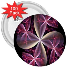 Pink And Cream Fractal Image Of Flower With Kisses 3  Buttons (100 pack)