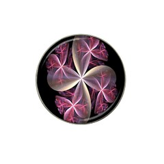 Pink And Cream Fractal Image Of Flower With Kisses Hat Clip Ball Marker (4 pack)