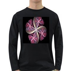 Pink And Cream Fractal Image Of Flower With Kisses Long Sleeve Dark T-Shirts