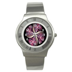 Pink And Cream Fractal Image Of Flower With Kisses Stainless Steel Watch