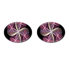 Pink And Cream Fractal Image Of Flower With Kisses Cufflinks (oval)