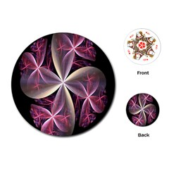 Pink And Cream Fractal Image Of Flower With Kisses Playing Cards (round)