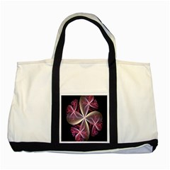Pink And Cream Fractal Image Of Flower With Kisses Two Tone Tote Bag
