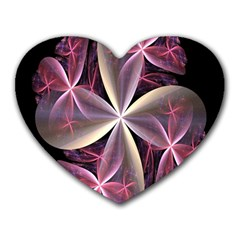 Pink And Cream Fractal Image Of Flower With Kisses Heart Mousepads