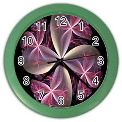 Pink And Cream Fractal Image Of Flower With Kisses Color Wall Clocks