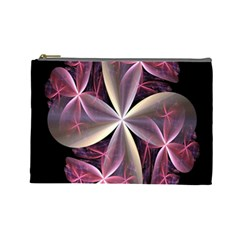 Pink And Cream Fractal Image Of Flower With Kisses Cosmetic Bag (large)