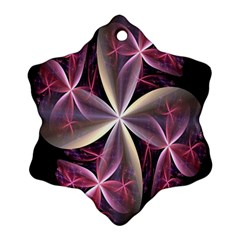 Pink And Cream Fractal Image Of Flower With Kisses Ornament (snowflake)