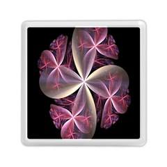 Pink And Cream Fractal Image Of Flower With Kisses Memory Card Reader (square)