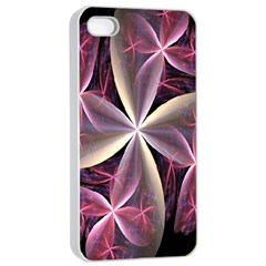Pink And Cream Fractal Image Of Flower With Kisses Apple iPhone 4/4s Seamless Case (White)