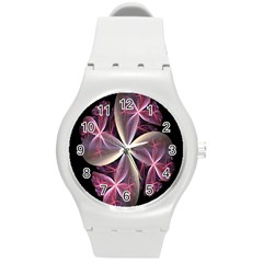 Pink And Cream Fractal Image Of Flower With Kisses Round Plastic Sport Watch (M)