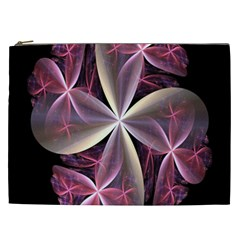 Pink And Cream Fractal Image Of Flower With Kisses Cosmetic Bag (XXL)