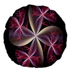 Pink And Cream Fractal Image Of Flower With Kisses Large 18  Premium Round Cushions