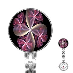 Pink And Cream Fractal Image Of Flower With Kisses Stainless Steel Nurses Watch