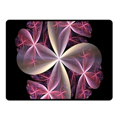 Pink And Cream Fractal Image Of Flower With Kisses Double Sided Fleece Blanket (small)