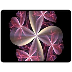 Pink And Cream Fractal Image Of Flower With Kisses Double Sided Fleece Blanket (Large)