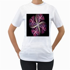 Pink And Cream Fractal Image Of Flower With Kisses Women s T-Shirt (White)