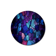 Cubes Vector Art Background Rubber Round Coaster (4 pack)