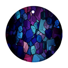 Cubes Vector Art Background Round Ornament (Two Sides)