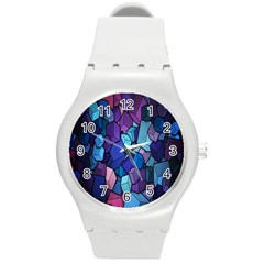 Cubes Vector Art Background Round Plastic Sport Watch (M)