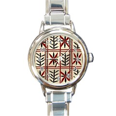Abstract A Colorful Modern Illustration Pattern Round Italian Charm Watch
