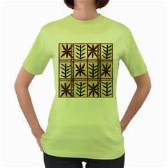 Abstract A Colorful Modern Illustration Pattern Women s Green T Shirt