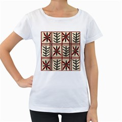 Abstract A Colorful Modern Illustration Pattern Women s Loose-Fit T-Shirt (White)