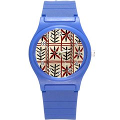 Abstract A Colorful Modern Illustration Pattern Round Plastic Sport Watch (S)