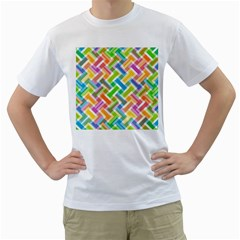 Abstract Pattern Colorful Wallpaper Background Men s T Shirt (white) (two Sided)