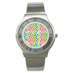 Abstract Pattern Colorful Wallpaper Background Stainless Steel Watch