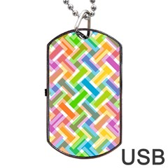 Abstract Pattern Colorful Wallpaper Background Dog Tag Usb Flash (one Side)