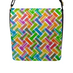 Abstract Pattern Colorful Wallpaper Background Flap Messenger Bag (L)