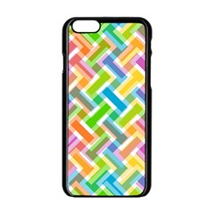 Abstract Pattern Colorful Wallpaper Background Apple iPhone 6/6S Black Enamel Case