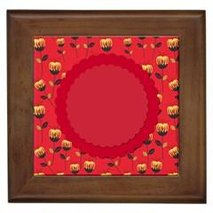 Floral Roses Pattern Background Seamless Framed Tiles