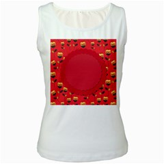 Floral Roses Pattern Background Seamless Women s White Tank Top