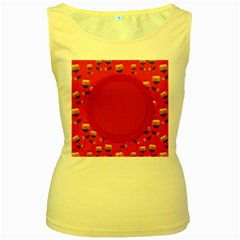 Floral Roses Pattern Background Seamless Women s Yellow Tank Top