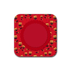 Floral Roses Pattern Background Seamless Rubber Square Coaster (4 Pack)