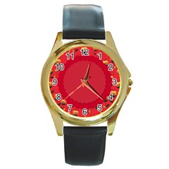 Floral Roses Pattern Background Seamless Round Gold Metal Watch