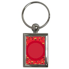 Floral Roses Pattern Background Seamless Key Chains (rectangle)
