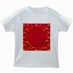 Floral Roses Pattern Background Seamless Kids White T Shirts