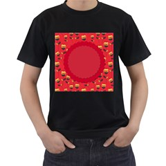 Floral Roses Pattern Background Seamless Men s T-Shirt (Black) (Two Sided)